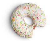 istock Bitten doughnut with sprinkles on white wih clipping path 1215955790