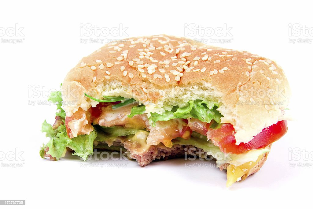 Bitten hamburger stock photo