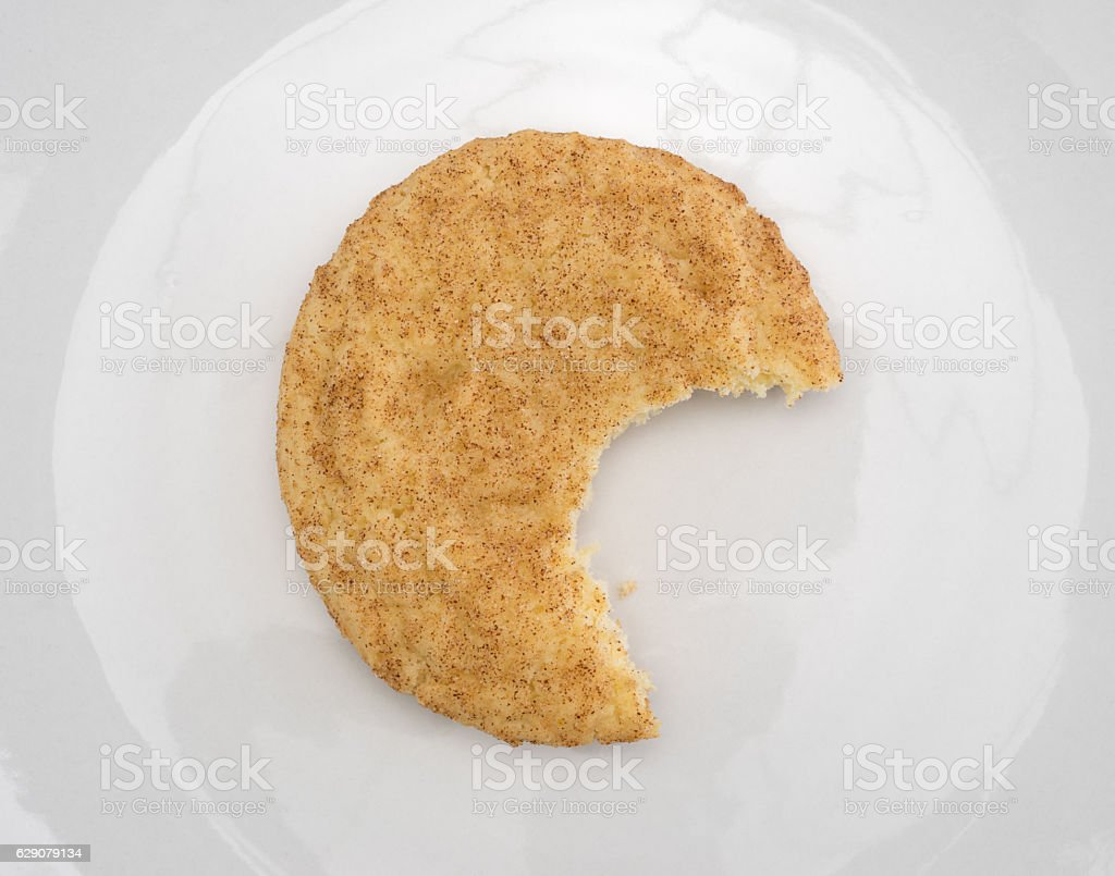 Bitten snickerdoodle cookie on a plate stock photo