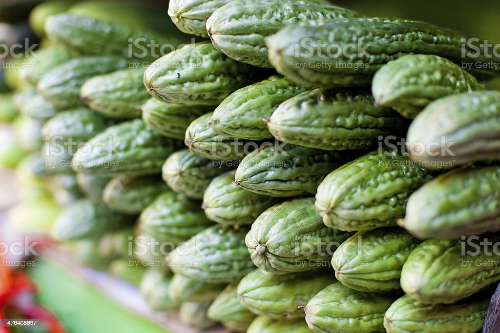 Bitter Melon (Momordica charantia) fruit at asian market stock photo