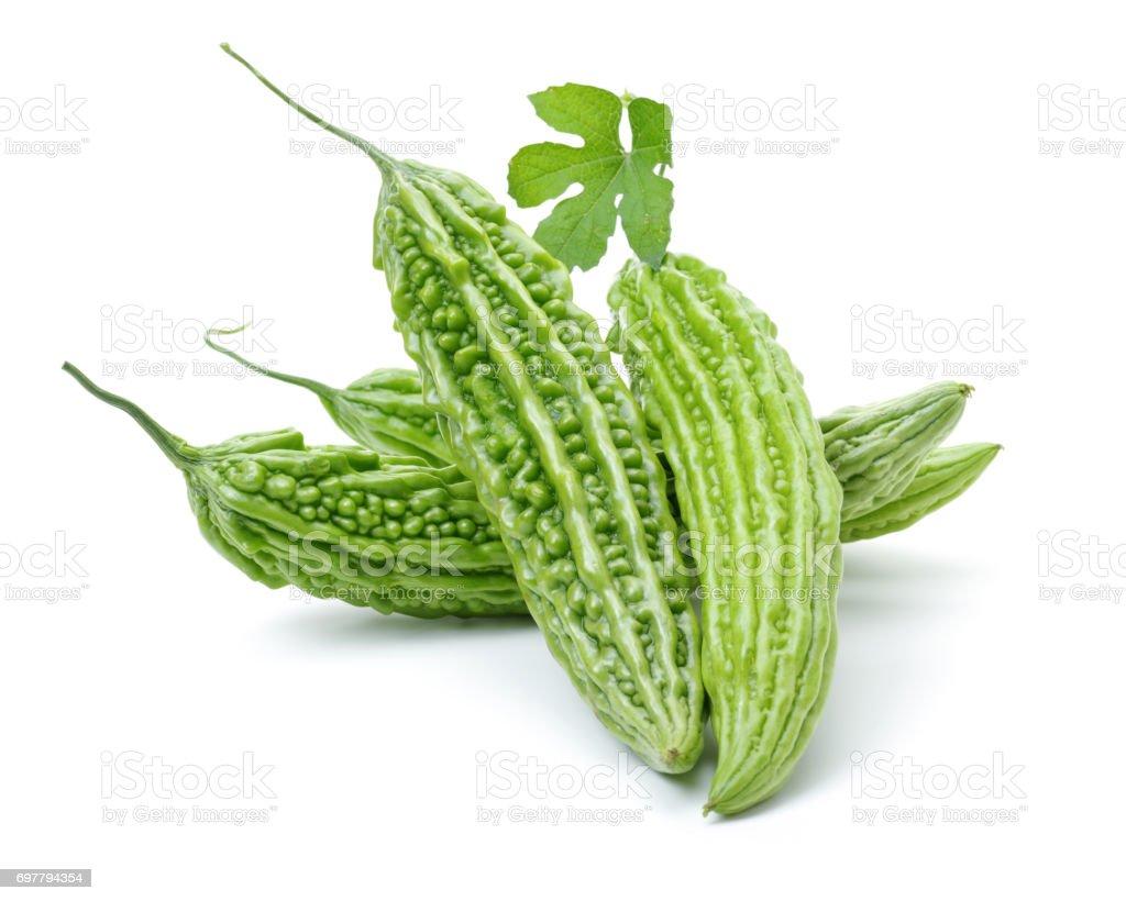 Bitter melon   isolated on white background stock photo