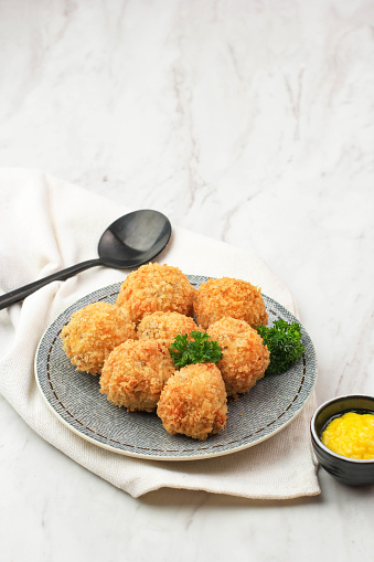 Bitterballen are a Dutch Meat Based Deep Fried Snack, Made by Making a Very Thick Stew Thickened with Roux and Beef Stock and Generously Loaded with Meat. Served with Mustard