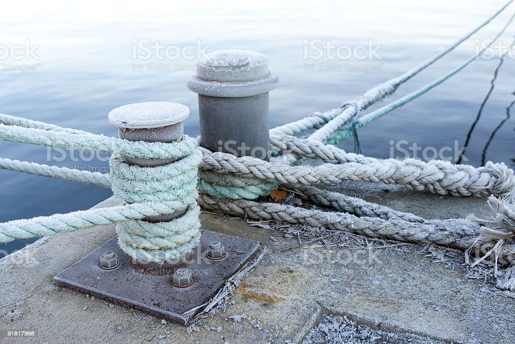 Bitts and mooring lines stock photo