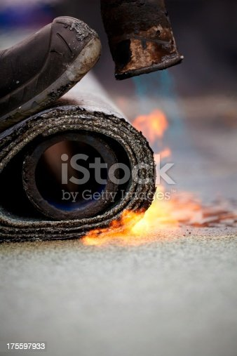 istock bitumen roofing felt roll for melting by gas heate 175597933