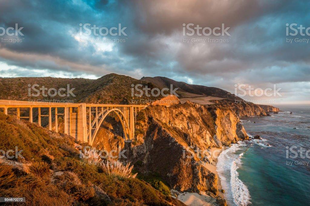 Bixby Bridge along Highway 1 at sunset, Big Sur, California, USA stock photo