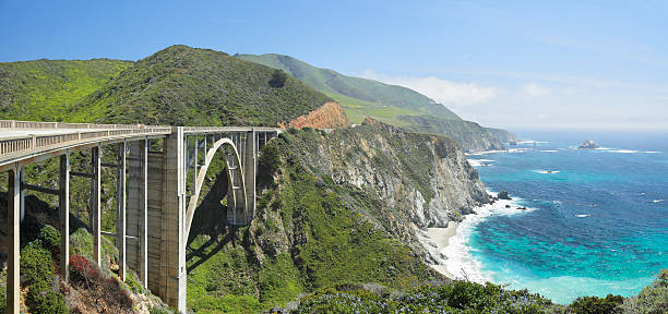 Bixby Bridge and Big Sur coastline stock photo