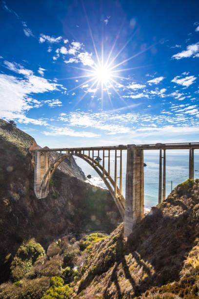Bixby Bridge and Pacific Coast Highway 1 stock photo