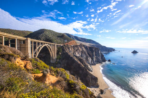 Bixby Bridge and Pacific Coast Highway 1 stock photo