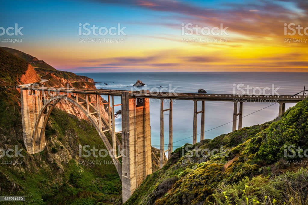 Bixby Bridge and Pacific Coast Highway at sunset royalty-free stock photo