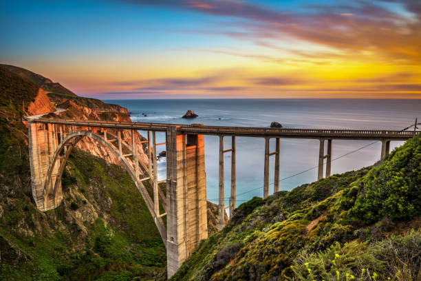 Bixby Bridge and Pacific Coast Highway at sunset stock photo