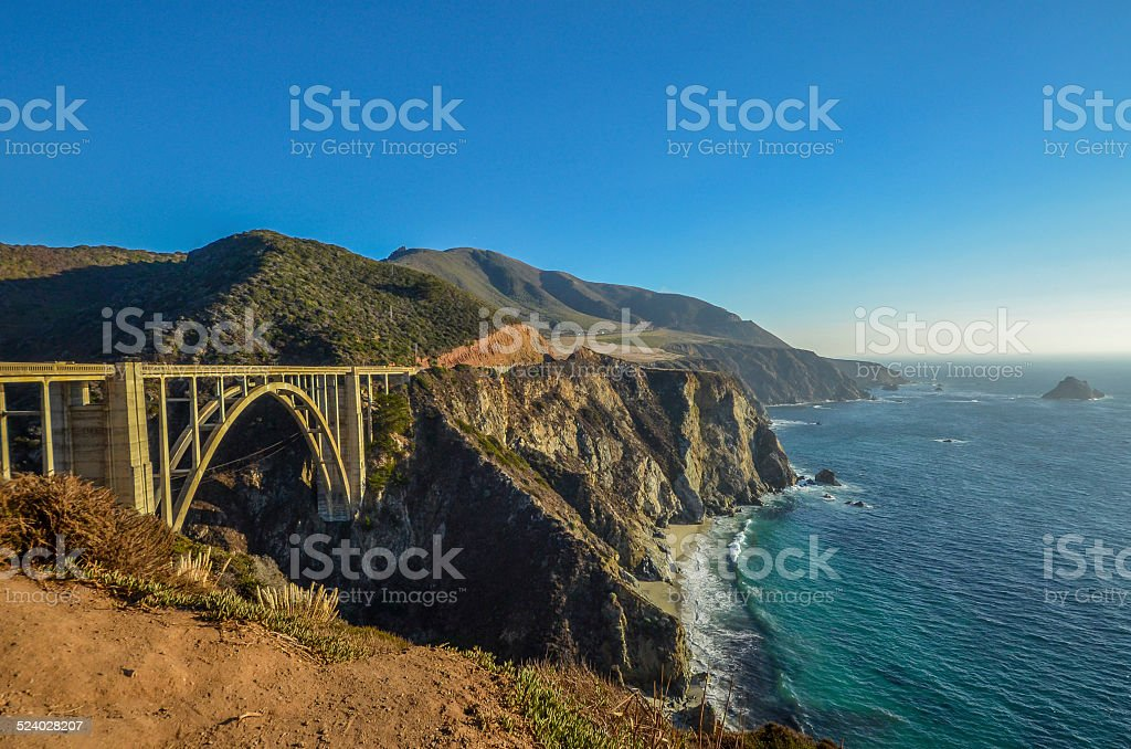 Bixby bridge and Pacific coast, near Big Sur, California stock photo