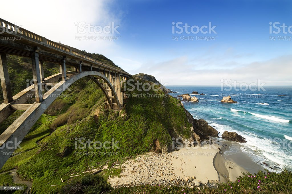 Bixby Bridge at Pacific Coast,Road Number 1, California stock photo