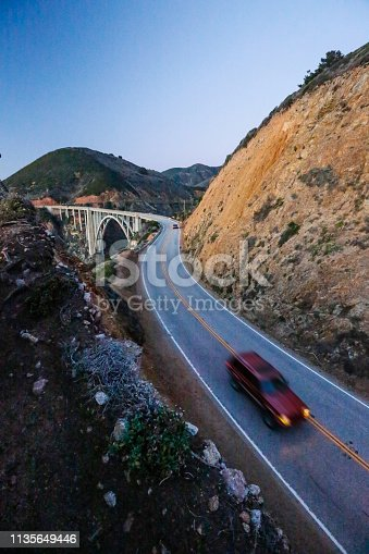 Highway 1's famous Bixby Bridge in Big Sur California. It's an iconic spot along the coast of Northern California