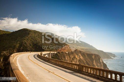 Bixby Bridge on highway 1 near the rocky Big Sur coastline of the Pacific Ocean California, USA