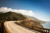 Bixby Bridge on highway 1 near the rocky Big Sur coastline of the Pacific Ocean California, USA