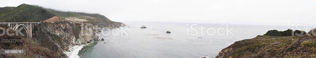 Bixby Bridge, California Panorama stock photo