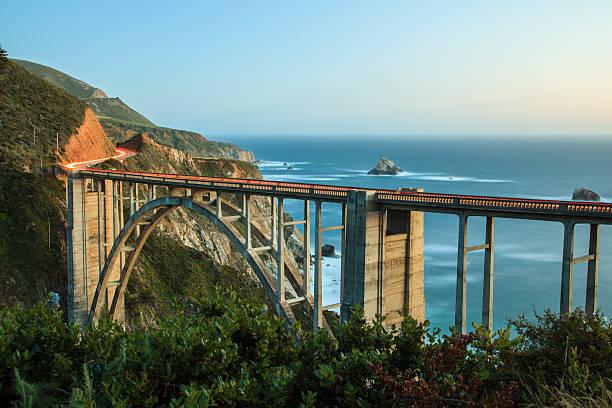 Bixby Bridge dusk, Big Sur, California stock photo