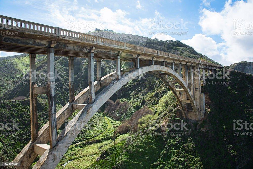 Bixby Bridge on Highway 1 in Central California stock photo