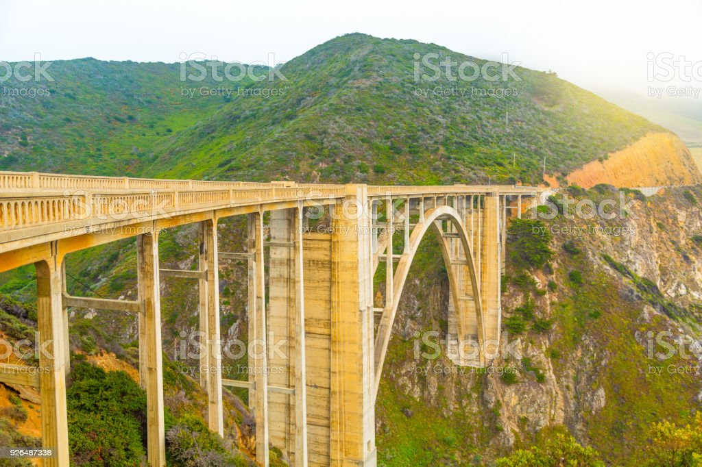 Bixby Bridge on Pacific Ocean coastline in Big Sur, California stock photo