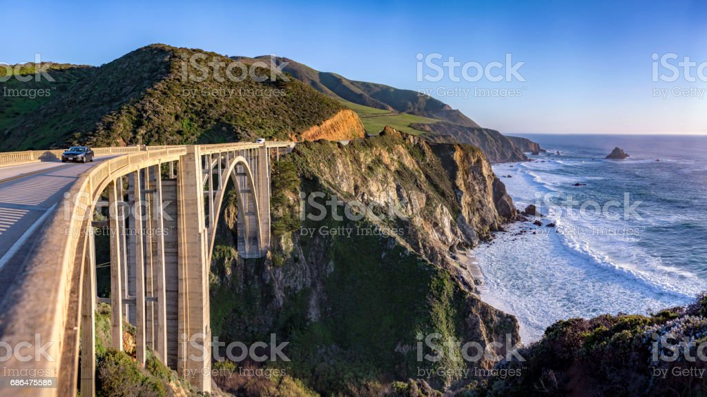 Bixby Bridge Panorama stock photo