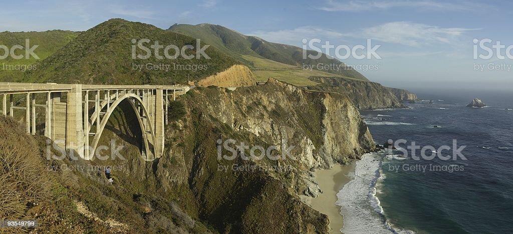 Bixby Creek Arch Bridge Panorama royalty-free stock photo