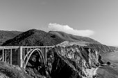 Big Sur Coast Of California With Waves Crashing Against Rocky ShoresBixby Creek Bridge and Big Sur coastline, California, Black and White
