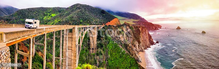 Photo of Bixby Creek Bridge at located at California State Route 1. Cloudy day.