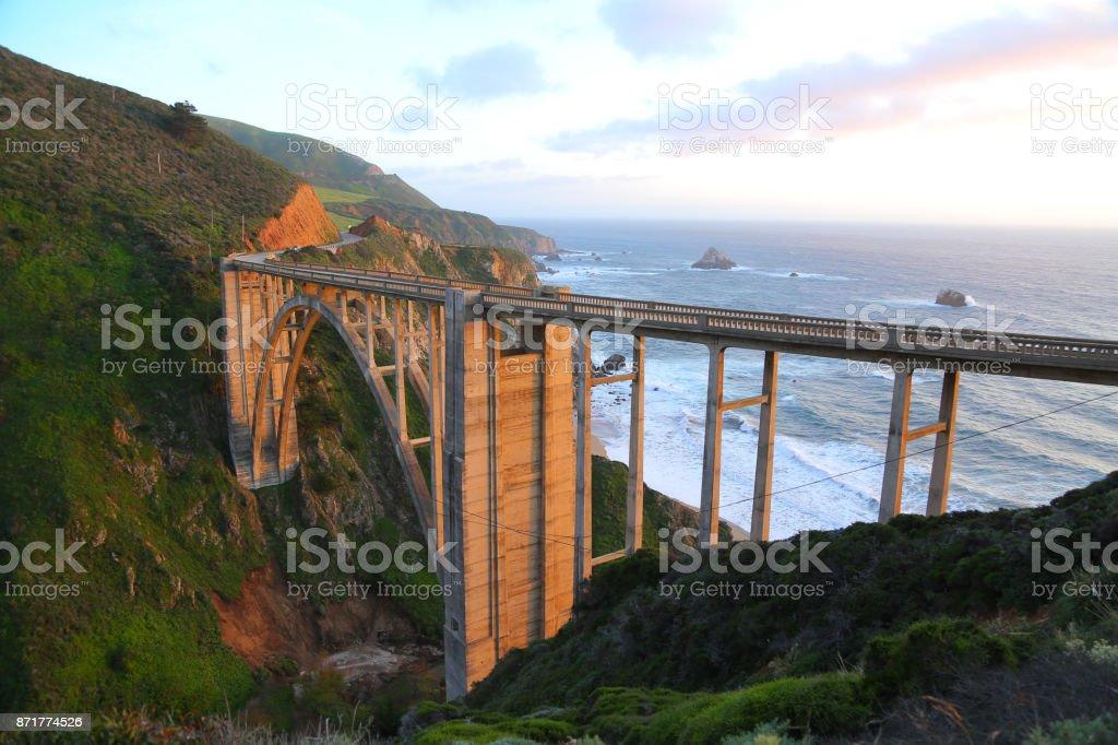 Bixby Creek Bridge at sunset stock photo