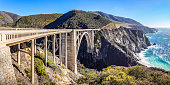 Bixby Creek bridge at the Pacific highway, California, USA. A landmark bridge on highway 1, the most beautiful road in USA.