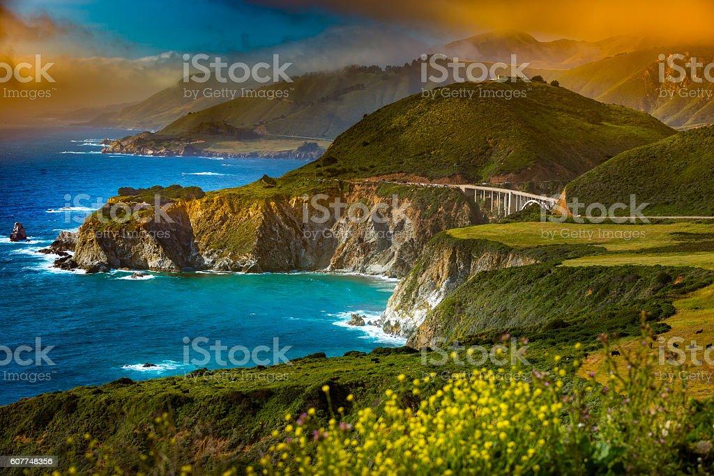 Bixby Creek Bridge Big Sur California stock photo