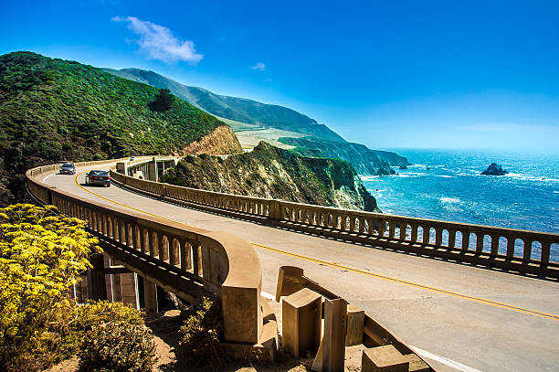 bixby creek bridge on highway one - west direction stock pictures, royalty-free photos & images