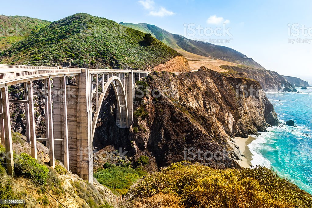 Bixby Creek Bridge on Pacific Coast Highway #1, Los Angeles - foto de stock