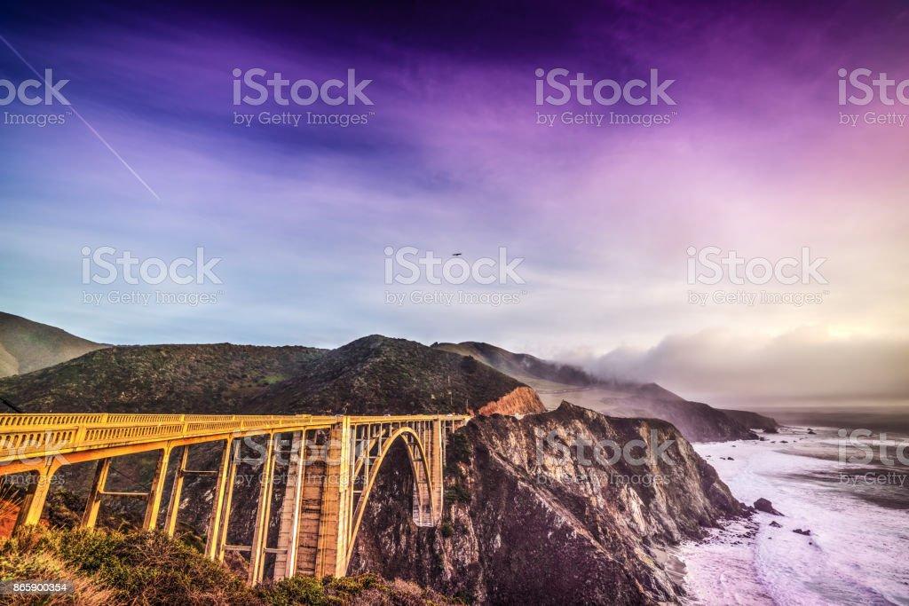 Bixby Creek Bridge on Pacific Coast Highway stock photo