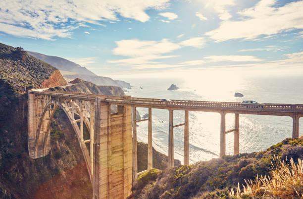 Bixby Creek Bridge, Route 1 in California, USA stock photo