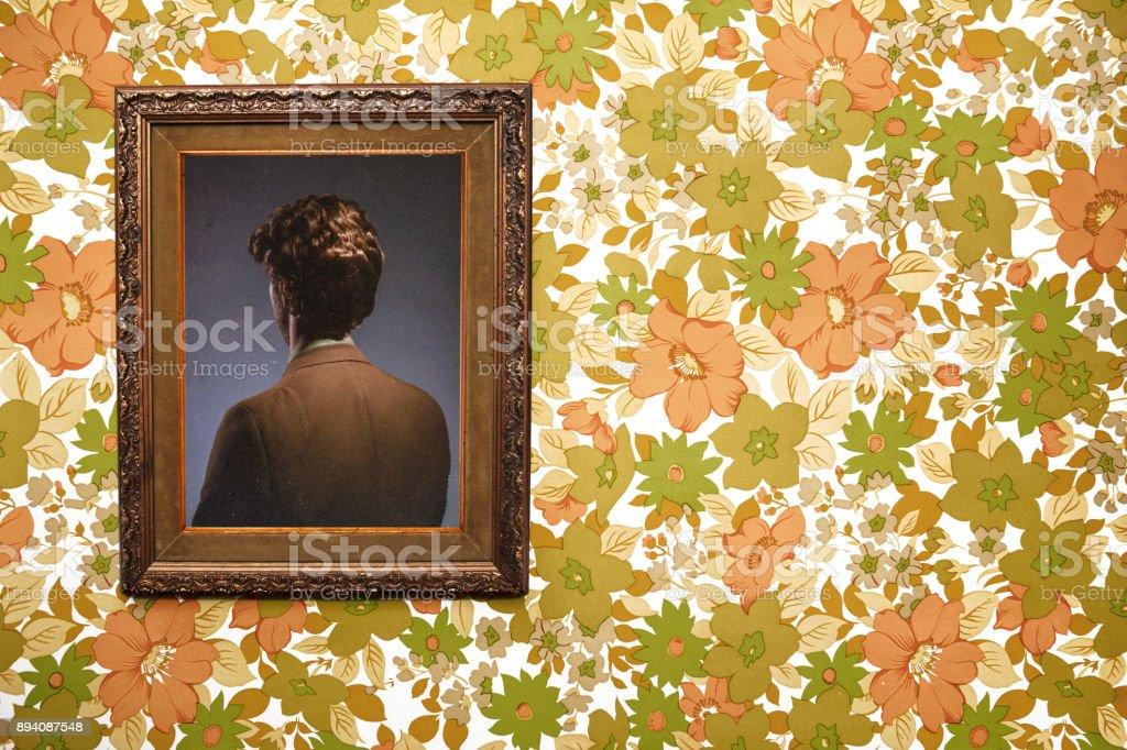 Bizarre Backwards Vintage Portrait stock photo