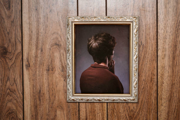 bizarre backwards vintage portrait - wood paneling stock photos and pictures