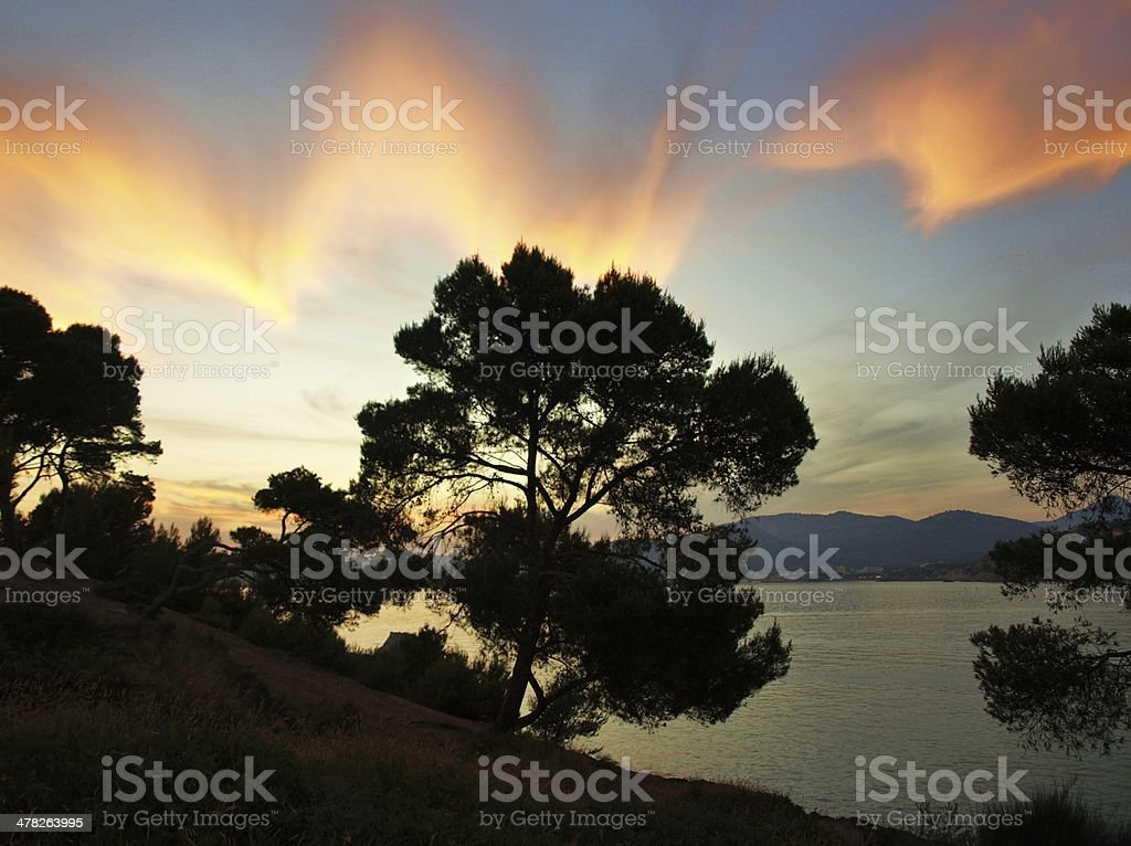 bizarre clouds over the sea royalty-free stock photo