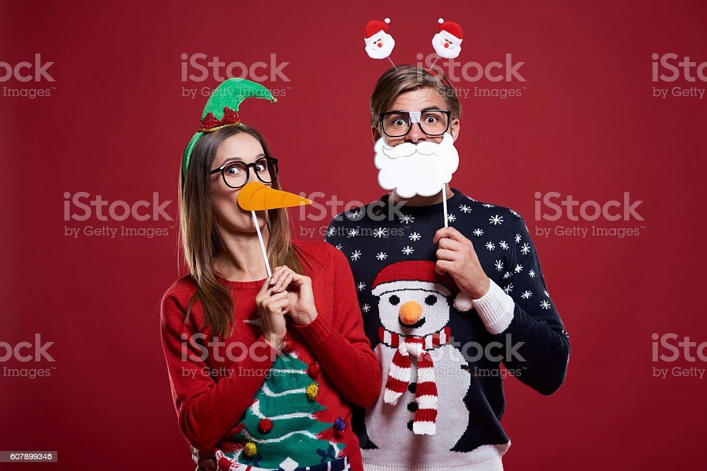 Bizarre couple in Christmas time stock photo