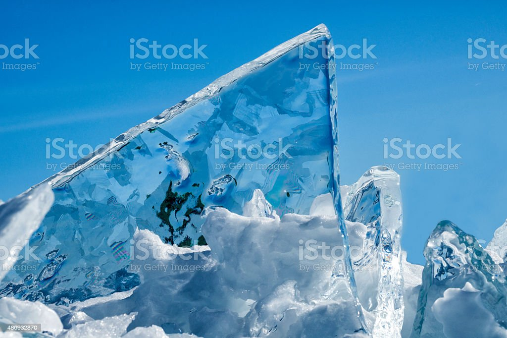 Bizarre ice formations in northern Minnesota in winter stock photo