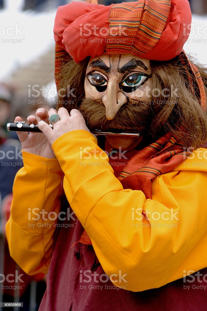 Bizarre male mask at Fasnacht Festival in Basel (XXL) royalty-free stock photo