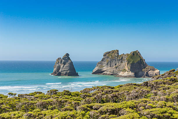 Bizarre rocks on a beach stock photo