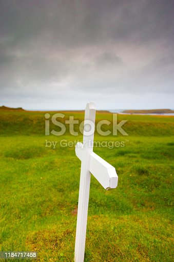 Bjarnarhöfn, Iceland: White Wood Cross Grave Marker, Close-Up