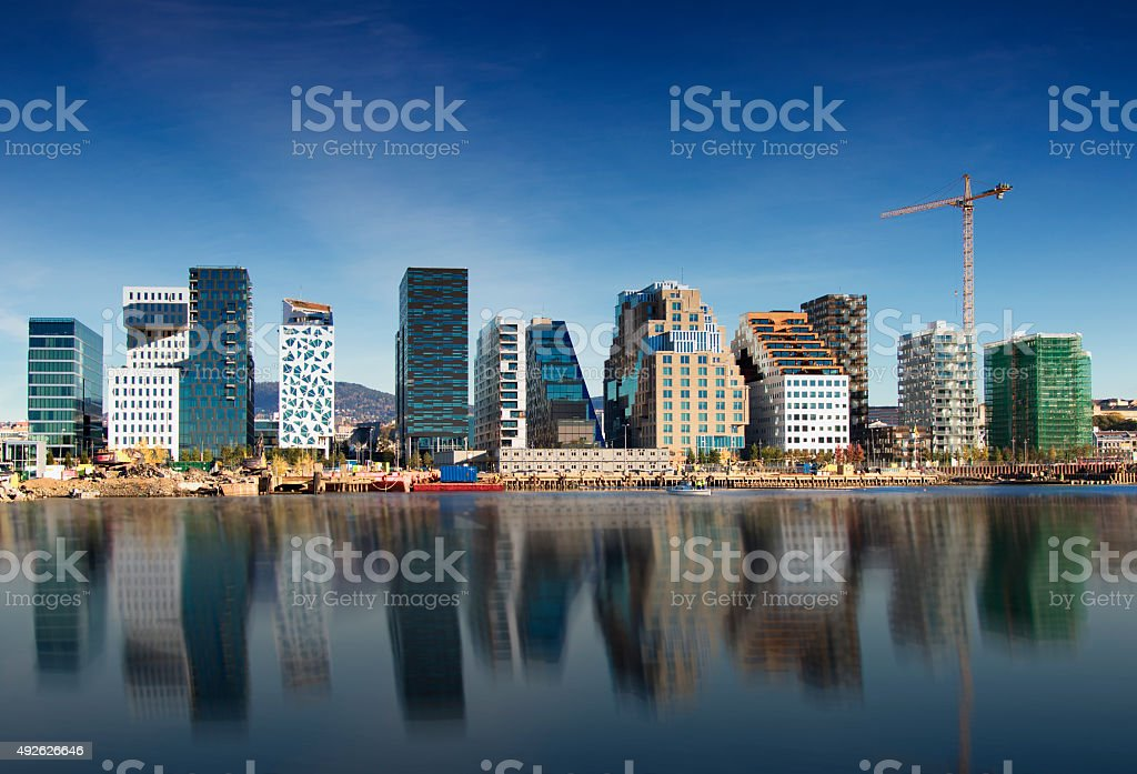 Bjoervika in Oslo - Oslo Barcode, Norway stock photo