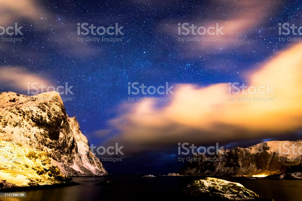 Bjornsand Beach at Night stock photo
