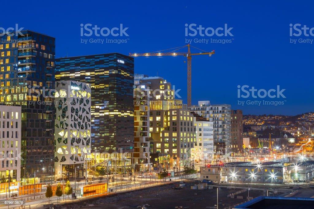 Bjorvika business quarter (Barcose). Night cityscape. stock photo