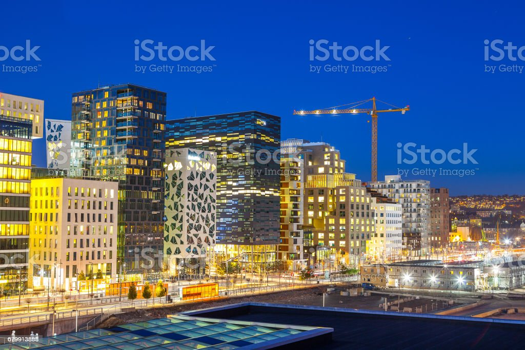 Bjorvika business quarter (Barcose). Night cityscape. stock photo