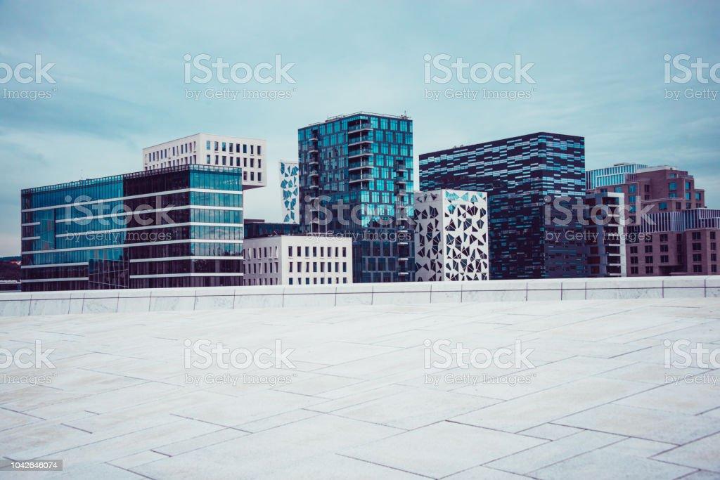 Bjørvika Barcode, Modern Buildings in Oslo, Norwey stock photo