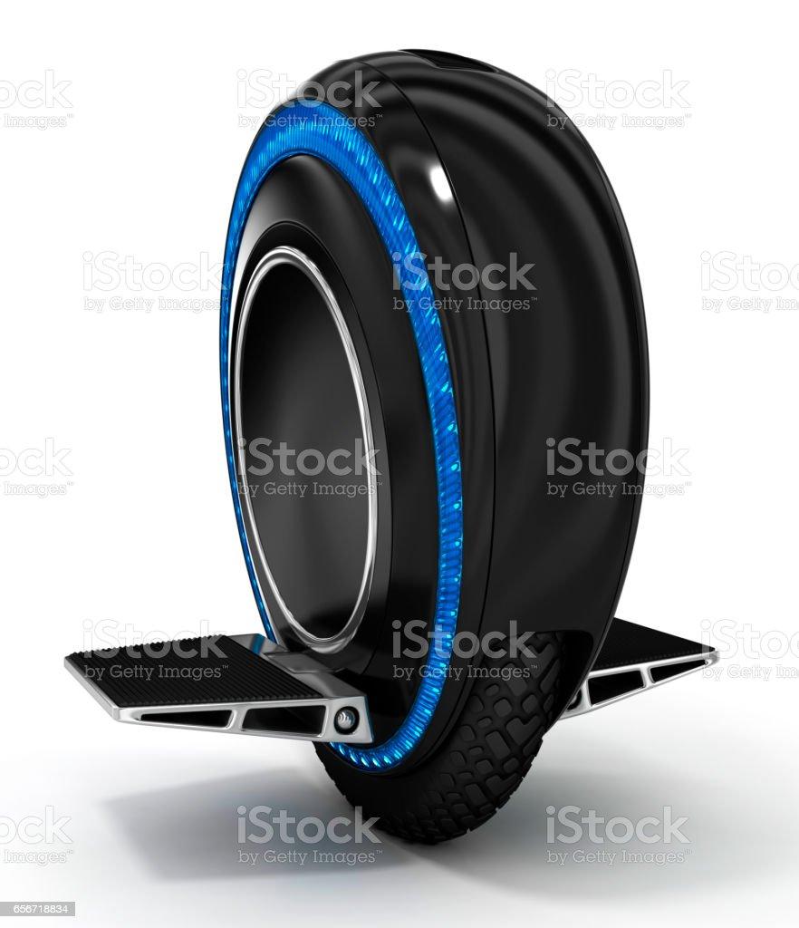 Bkack mono rueda con luz de fondo azul - foto de stock