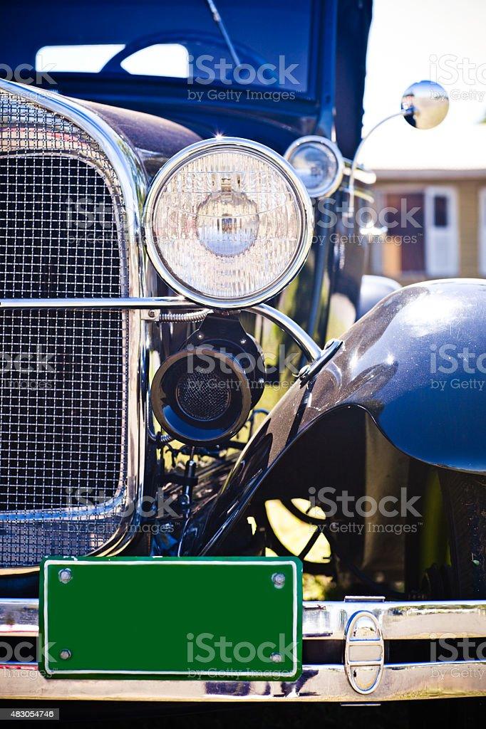 Black década de Carro Vintage vista frontal Farol da placa de licença - foto de acervo