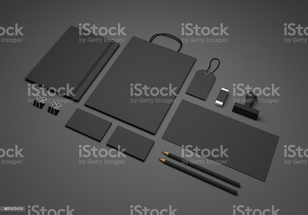 Black 3D illustration branding stationery mockup stock photo